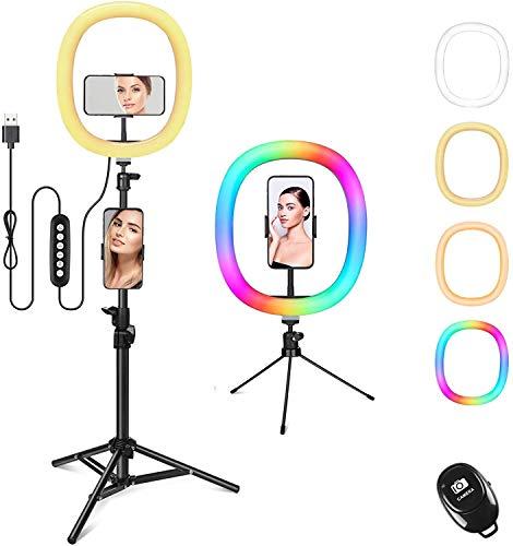 Zacro RGB Ring Light 12' lumière de Remplissage en Direct avec Trépied, Retardateur de Téléphone, lumière de Photographie LED pour Les Vidéos/Selfies/Youtube