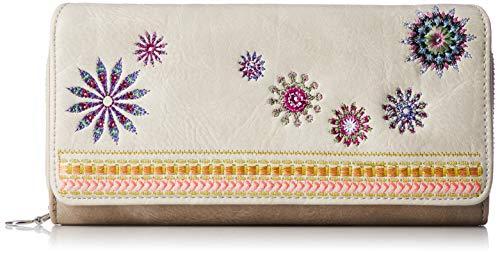 Desigual Damen-Geldbörse Beige mit Stickerei 20SAYP13 6062 Beige, valueBeige 20x11x3 cm