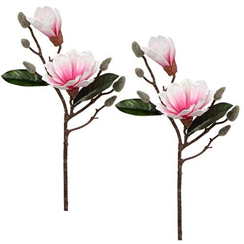 Flores artificiales de magnolia flor de imitación flor real Touch ramo artificial para bodas, centros de mesa, decoración floral en el hogar, jardín, arreglo de flores de oficina, 2 unidades