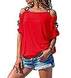 Canotta Donna T-Shirt personalità Moda Estate Donna Bluse Squisito Colore Tracolla Design Quotidiano Casual Sciolto Traspirante all-Match Donna Manica Corta D-Red XL