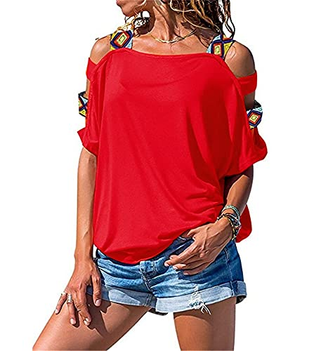 Manga Corta Mujer Tops Moda Sexy Verano Cuello Cuadrado Mujer Blusa Exquisito Retro Impresión Hombro Correa Fuera Hombro Diseño Diario Casual Ligero All-Match Mujer T-Shirt D-Red M