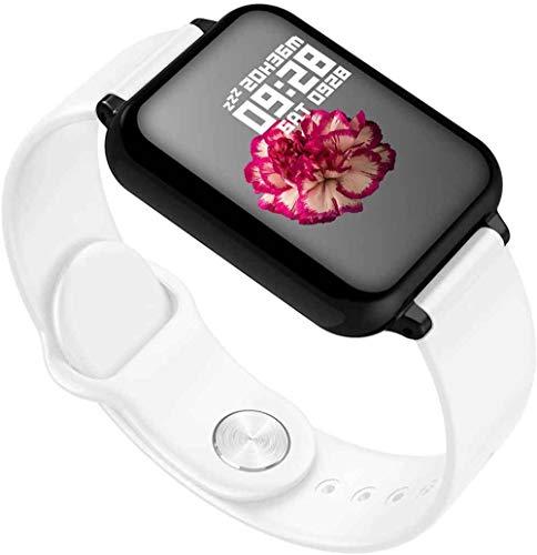 SNFHL Reloj Inteligente de 1,3 Pulgadas con Monitor de Frecuencia Cardíaca, Podómetro, Resistente al Agua,White