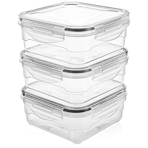 Frischhaltedosen-Set - luftdichte Kunststoff-Vorratsdosen, leicht verschließbarer Deckel, mikrowellen-gefrier- und spülmaschinenfest, perfekte Mahlzeit-Vorbereitung (800ml)