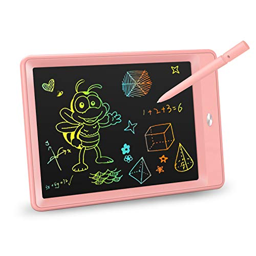 KOKODI LCD Writing Tablet, 10 Inch Colorful Toddler Doodle Board Drawing Tablet, Erasable Reusable Electronic Drawing Pads, Educational and Learning Toy for 3-6 Years Old Boy and Girls (Pink)