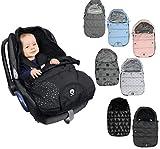 DOOKY - Saco de dormir para bebé, cinturón de 3 y 5 puntos, por ejemplo, para sillita, silla de coche, cochecito, etc. en 2 tamaños (0-9 meses), color negro