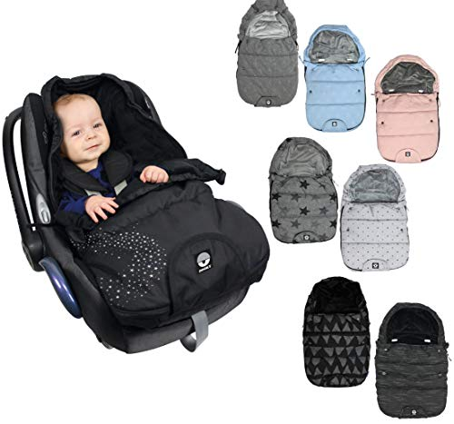 Original DOOKY Fußsack/Footmuff 3 und 5 Punkt Gurt z.B. für Maxi Cosi Babyschale/Autositz, Kinderwagen etc. in 2 Größen (Small (0-9 Monate), Light Grey Crowns)