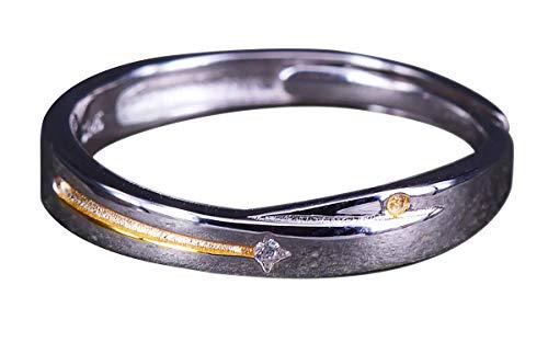 NicoWerk Damen Silberring Schnuppenstern aus 925 Sterling Silber Schmal Golden Stern Zirkonia Verstellbar Offen SRI587