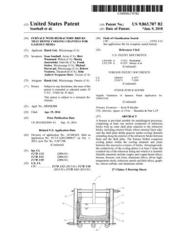 Furnace with refractory bricks that define cooling channels for gaseous media: United States Patent 9863707