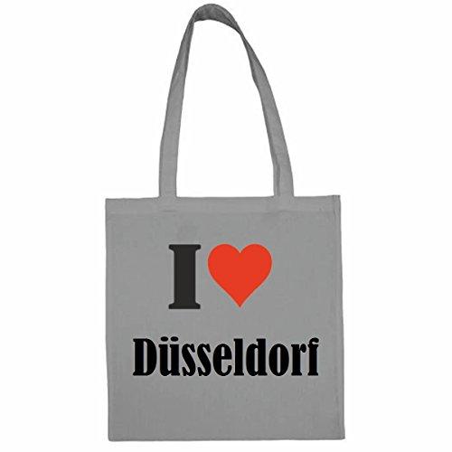 Tasche I Love Düsseldorf Größe 38x42 Farbe Grau Druck Schwarz