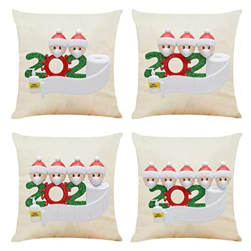 FossenHyC 4 PC 2020 45x45cm Fundas Cojines Navidad Mezcla de Lino, Funda de Cojín Decorativo de Pascua - Funda de Almohada Impresión de Gente Pequeña para Hogar Casa Sofá Jardin Cama (4PC-A)