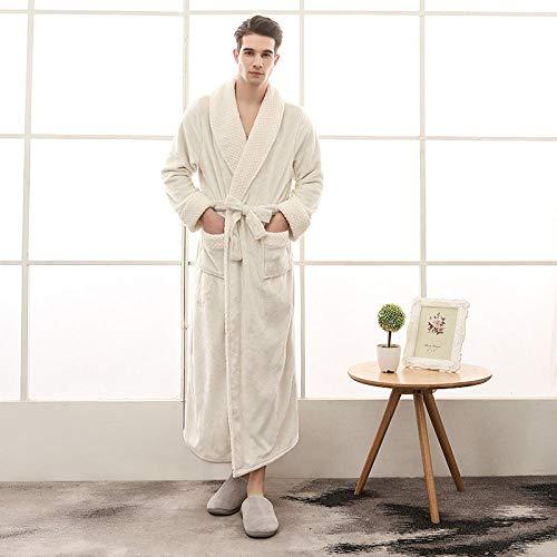 ASADVE Albornoces de Hombre para Mujer, Ropa de Pareja, Batas de Kimono de Invierno cálido y Grueso, Pijamas para Parejas, Ropa para el hogar-Hombre Blanco_SG