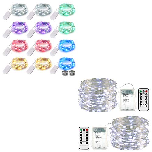 Lyhope 12 Pack 7.2ft Battery Operated Fairy String Lights 20 LED (Six Color)& 2 Pack 33ft 100 Led Fairy Lights (Cool White)