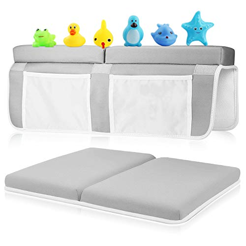 Bath Kneeler and Elbow Rest Set, 1.5 inch Thick Kneeling Pad and Elbow Support for Knee and Arm Support Large Bathtub Kneeling Mat with Pockets Organizer 6 Toys for Happy Baby Bathing Time (Gray)