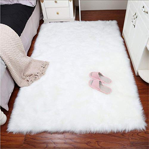 TIDWIACE Faux Fur Sheepskin Rug Soft Fluffy 80x150CM - Non-Slip Shaggy Area Rugs Faux Fleece for Bedrooms Living Room Chair Decor Seat Pad Rug Pads (White)