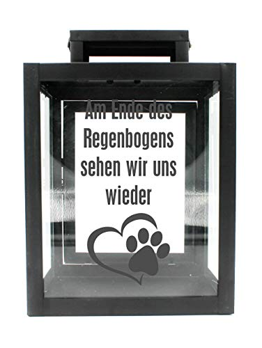 WB wohn trends Metall-Laterne mit Aufdruck, Am Ende des Regenbogens Hund Katze Tier-Pfote, schwarz, 25x18x13cm, für LED-Kerzen, Farbauswahl möglich