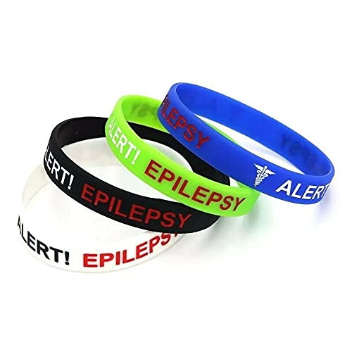 Pack of 4 Alert Epilepsy Awareness Medical Wristband Women's Mens Band Bracelet Set in Case of Emergancy (Large 20cm)