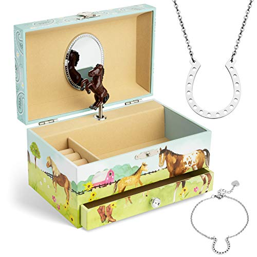 Jewelkeeper Horse Music Box & Little Girls Jewelry Set - 3 Horse Gifts for Girls