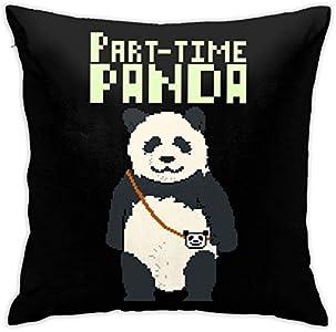 WH-CLA Throw Pillow Covers Funda De Almohada De Panda A Tiempo Parcial De 8 bits Funda De Cojín Funda De Almohada De Animación Cojín para Coche Sofá Interior Hogar 45X45Cm Silla Cuadrado
