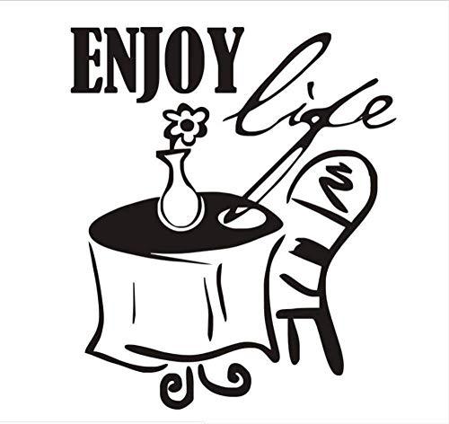 Pegatinas De Pared Calcomanías Murales Disfrutar De La Mesa De La Vida Y La Flor De La Silla Puede Ser Diy Removible Impermeable Autoadhesivo Decoración De La Cocina 58X68Cm
