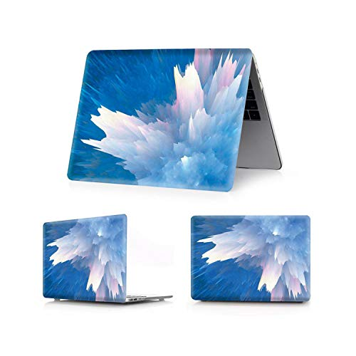 U-see Color Printing Shell Leaf Painted Case for MacBook Air Pro Retina 11 12 13.3 15.4 inch Touch Bar Air 13 15 inch,Colorful-Lake Blue,Pro15 A1707 A1990