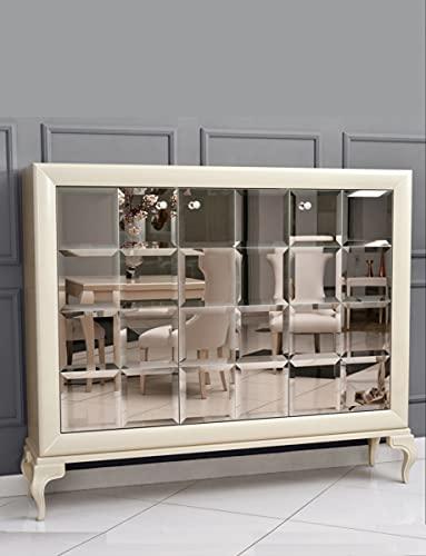 Casa Padrino Tocador de Lujo neoclásico Espejo Blanco/Dorado 179 x H147 cm - aparador Muebles Art Deco