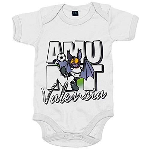 Body bebé parodia de súper rat el murciélago mascota de fútbol de Valencia - Blanco, Talla unica 12 meses