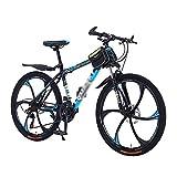 MENG Volles Suspension Mountainbike 21/24/27 Fahrrad 26 Zoll Mens Mtb Mit Kohlenstoffstahlrahmen Für Männer Frau Erwachsene Und Jugendliche/Blau/21 Geschwindigkeit