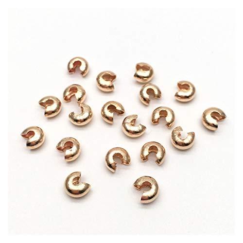 Linyuex 100 unids 3mm Open Crimp Beads Cubiertas de Nudos Consejos Finales para joyería Fabricación de Plata y Oro y Rhodium & Bronce & Cobre Plateado sin Plomo (Color : KC Gold, Size : 3mm 100pcs)