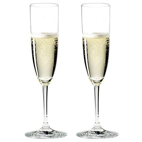 Riedel 6416/08-POL Vinum Champán Lavavajillas Cristal estriado Champán y vino rosa Copas de beber con paño de microfibra (2 unidades)