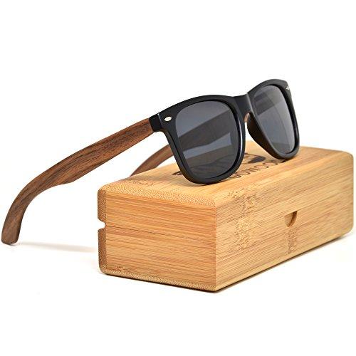 GOWOOD Sonnenbrille Herren und Damen Walnuss Holz Bügeln Polarisiert