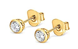 Enjoy the luxurious look of gold diamond stud earrings without the price tag. Gold plated sterling silver cubic zirconia earrings, stamped 925. Bezel set for optimum protection and security of the gem stone. These silver earrings have 4 mm basket set...