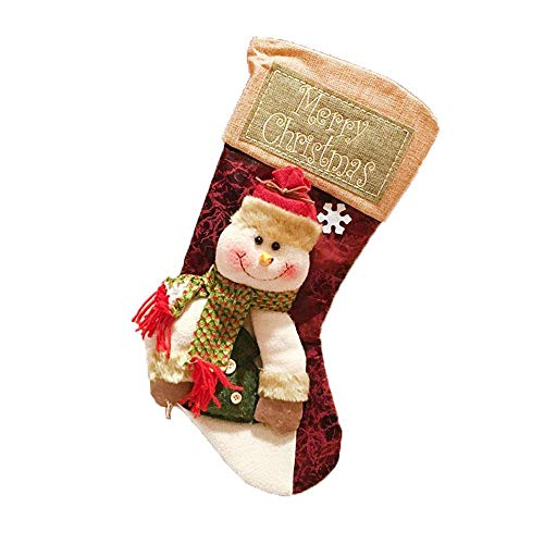 JINGHE Christmas Decoration Socks Gifts, Large Xmas Sock Sack Gift Bag Santa, Snowman, Reindeer Traditional Holiday Hanging Ornament Fireplace Decorations 1 Pack