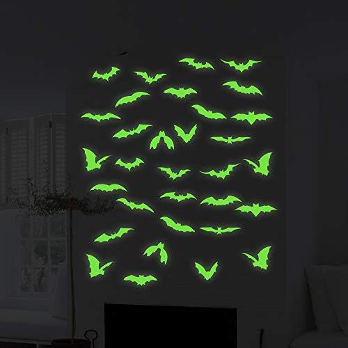 32 Pièces Halloween Lumineux Chauve-Souris Stickers Halloween Chauves-Souris Lueur dans l'obscurité Utilisé pour les Autocollants de Décoration à la Maison les Autocollants Muraux d'Halloween