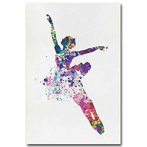 REDWPQ Bailarina Ballet Dance Girl Minimalista Arte Lienzo Cartel Pintura Acuarela Imagen Imprimir para Modern Home Living Room Decor 30X40Cm Sin Marco Picture 4