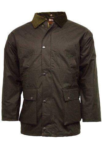 Regen-Jacke, gesteppt, gepolstert, Baumwollwachs Gr. Large, braun