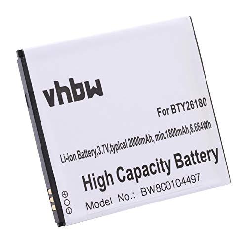 vhbw Li-Ion Akku 2000mAh (3.7V) für Smartphone, Telefon, Handy Elson Mobistel Cynus T2, MicroMax A110 wie BTY26180, BTY26180MOBISTEL/STD.