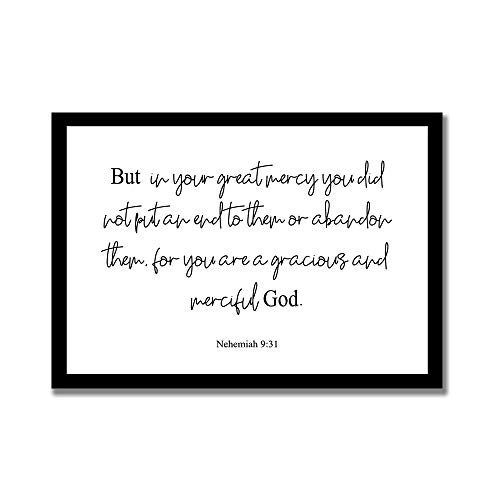 """Odeletqweenry Frame Wood Sign, But In Your Great Mercy You Did Not Put An End to Them Or Abandon Them. Nehemiah 9:31 Quote Wooden Framed Sign, Home Decor, Decorative Sign, 16\"""" x 20\"""" Wooden Sign"""
