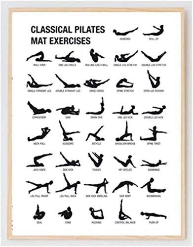 Cuadro de entrenamiento de Pilates, impresiones artísticas en lienzo, decoración de pared de habitación de Yoga, cartel de guía de culturismo de Pilates, pintura de gimnasio, 40x60cm