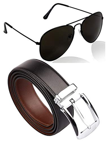 CLUB SPUNKY Combo offer Pack of UV Protected Stylish Aviator Sunglasses For Men/Boys + Worth Rs. 349 CLUB SPUNKY Reversible PU-Leather Formal Black/Brown Belt For Men is absolutely free. (Black/Grey)