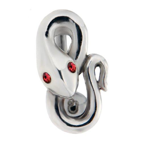 International Connection Bauchnabel Piercing Schmuck - Piercing in Piercing Line Schlange mit Light siam Kristallen - Chirurgenstahl / 925 Sterling Silber