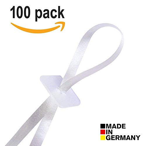 Ballonwerk® 100 Ballonverschlüsse Helium oder Luftbefüllung mit Band | Luftballon Schnellverschluss für alle Luftballons geeignet mit qualitativem Polyband | Ballonverschluss Made in Germany