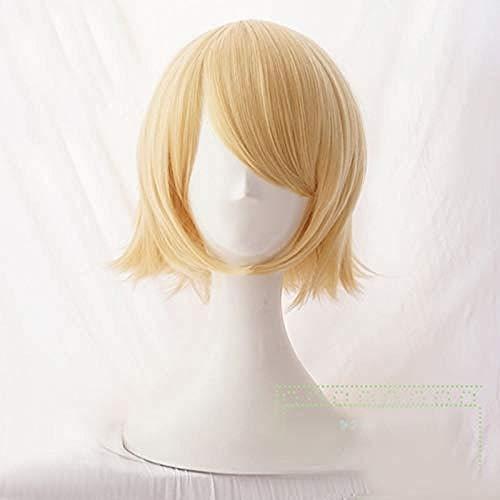 Vocaloid Kagamine Rin/Kagamine Len corto rubio resistente al calor pelo Cosplay disfraz peluca + pista + gorro de peluca 2-1