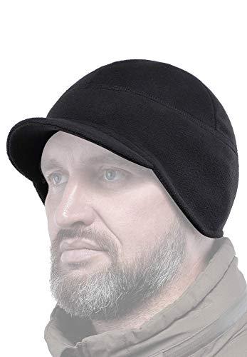 2Sabers Fleece Winter Visor Earflap Beanie Hat - Men Women - Cover Ears Skull Watch Cap (Black, Medium)