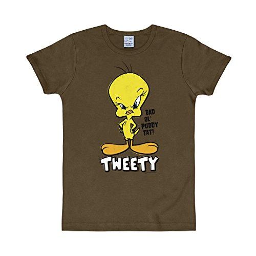 Logoshirt Looney Tunes - Birdie Tweety Unisex Slimfit T-Shirt - braun - Lizenziertes Originaldesign, Größe M