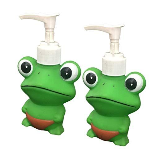 Cabilock 2 Stück Duschgel Spender Kinder Frosch Tier Hand Lotion Pumpe Nachfüllbare Seife Spender Lotion Shampoo Gel Flasche 120Ml