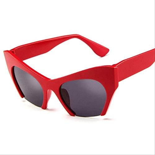 Gafas de Sol Retro Half Frame Cat Eye Mujer Uv400 Rojo Gris