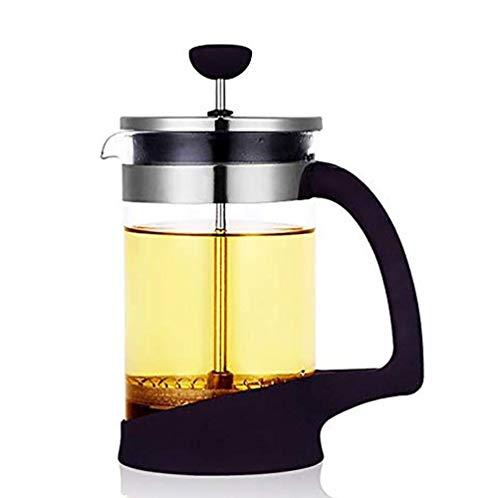 Cafeteras de émbolo Manual Tetera de cristal francés de té del café del percolador Inicio Tetera Pot calor del filtro de café del pote desgaste de la herramienta de té, 1000ML (Size : 600ML)