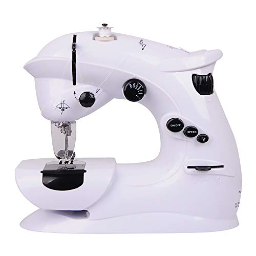 WANGLXST Eléctrico Máquina de Coser con 7 Puntadas de Costura, Portátil Máquina Overlock Profesional, White