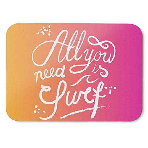 BLAK TEE All You Need Is Surf Slogan Mouse Pad 18 x 22 cm in 3 Colours Pink Yellow