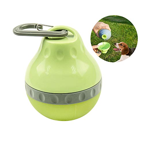 Royalcare Tragbar Hundetrinkflasche, Haustier Wasserflasche mit SchüSsel für Die Reise, Bpa Frei Silikon Kleiner Wasserspender Ohne Tropf Grün